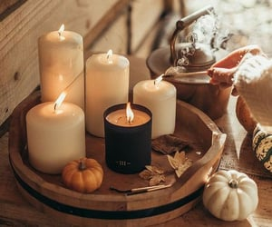 autumn, candles, and sweater image