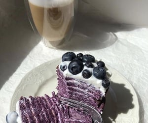 blueberries, cake, and coffee image