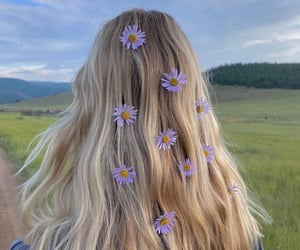 blonde, flowers, and hair image