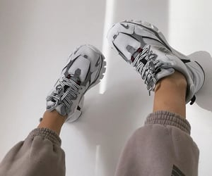 sneakers, grey sneakers, and style image
