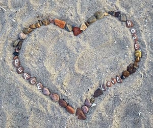 beach, heart, and hippies image