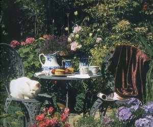 cat, garden, and plants image