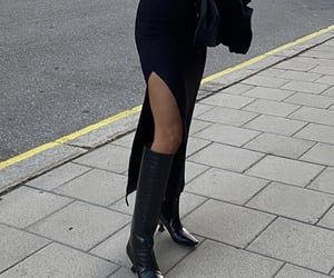knee high boots, chic elegant, and long maxi dress image