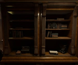 antique, bookcase, and books image