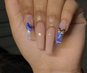 blue nails, butterflies, and nails image