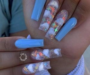 blue nails, clear nails, and nail idea image