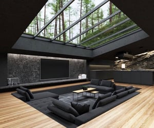 big windows, dream home, and nature image
