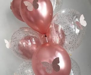 baloons, pink, and butterflies image