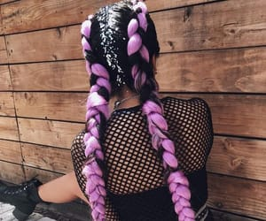natural hair, purple hair, and box braids image