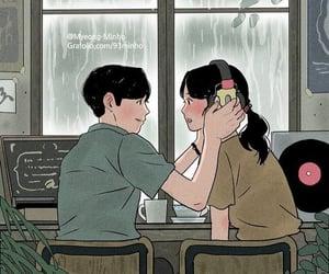 illustration, couple, and art image