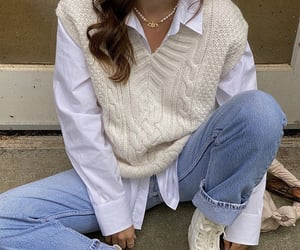 fashionista fashionable, white collar blouse, and blue denim jeans image