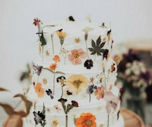 cake, flowers, and leaves image