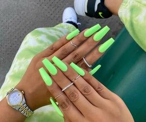 green, nails, and fashion image