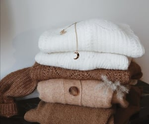 beige, sweater, and white image