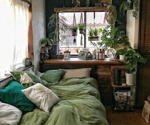 plants, green, and bedroom image
