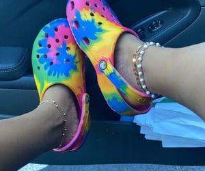 crocs, tie dye, and rainbow image