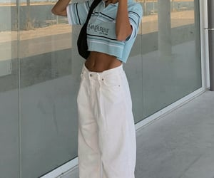 beach, fashion blogger, and jeans image