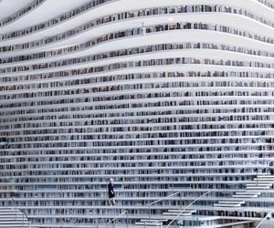 architecture, books, and gray image