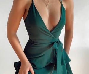 dress, green, and beautiful image