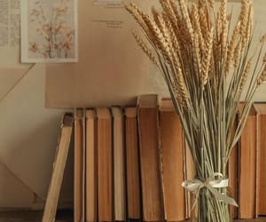 beige, books, and flowers image