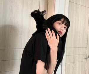 black cat, girl, and nature image