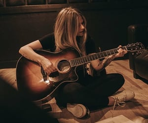 acoustic, Avril Lavigne, and guitar image