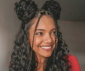 black hair, curly hair, and hairstyle image