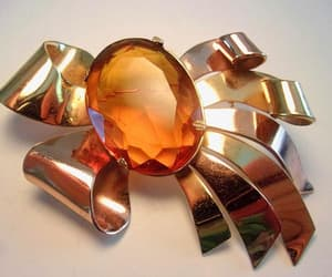 CORO Amber Glass Brooch Vermeil Over Sterling Silver Ribbon image 0