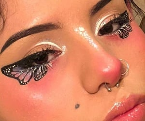 butterfly, makeup, and cute image