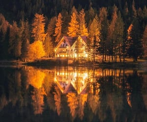 cabin, autumn, and forest image