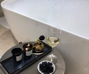 drink, candle, and wine image