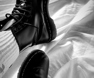 black, white, and dr marteens image