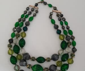 Lovely Three Strand Green Necklace Signed Germany  Pretty image 0