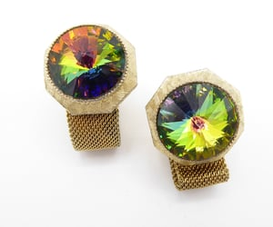 Watermelon Tourmaline Glass Rivoli Rhinestone Cuff Links with Fold Over Mesh & T Bar Fasteners, Vintage 1960s Jewelry for Men