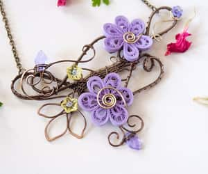 bridal necklace, flowers, and statement necklace image