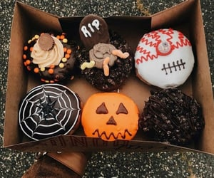 Halloween, autumn, and donuts image