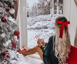 christmas, snow, and girl image