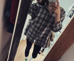 girl, oversized shirt, and fall outfit image