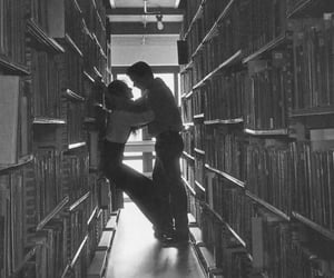 books, couple, and library image