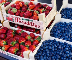 strawberry, blueberry, and food image