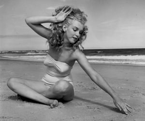 1949, beach, and black and white image