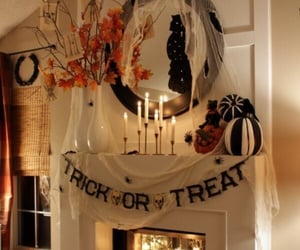 candles, fireplace, and Halloween image