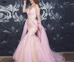 pink prom dresses, lace applique prom dress, and robe de soirée image