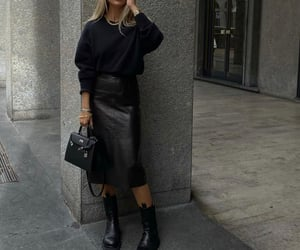 leather skirt and black leather skirt image