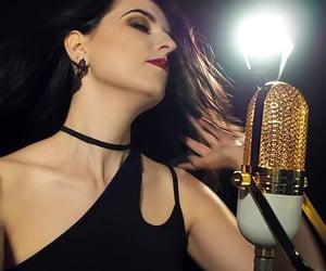 brunette, choker, and earrings image