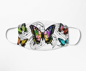 music notes, colorful butterflies, and face mask design image