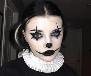 harlequin, harlequin makeup, and Halloween image