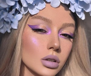 makeup, girl, and purple image