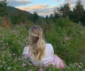 blonde, flower flowers, and sky skies image