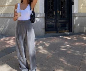 white tank top, everyday look, and wide leg pants image